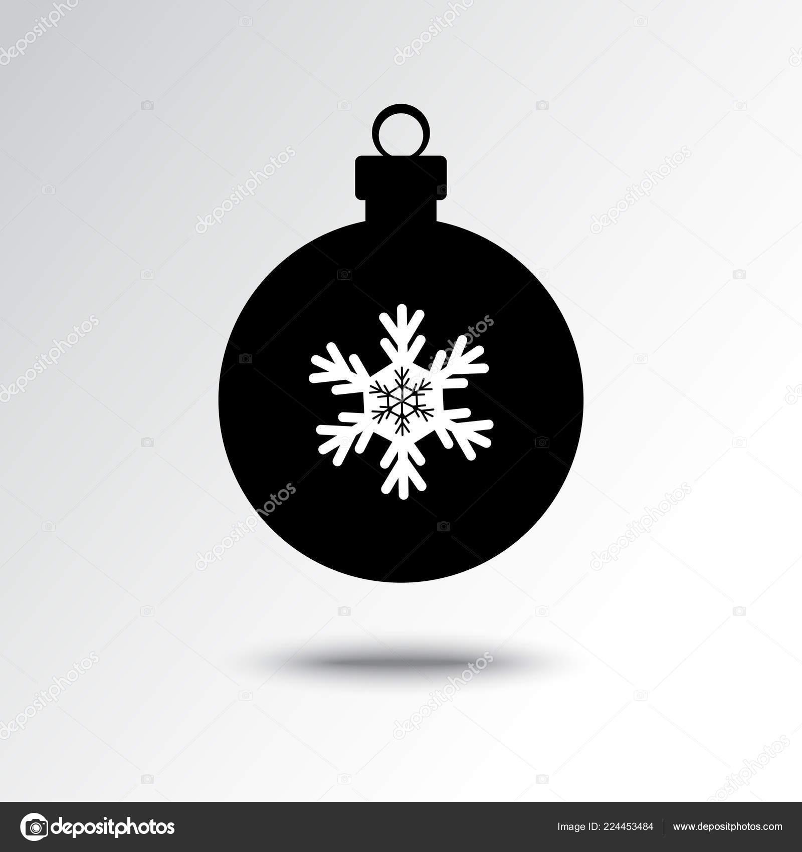 Icône Boule Noël Avec Silhouette Flocon Neige Noir Blanc