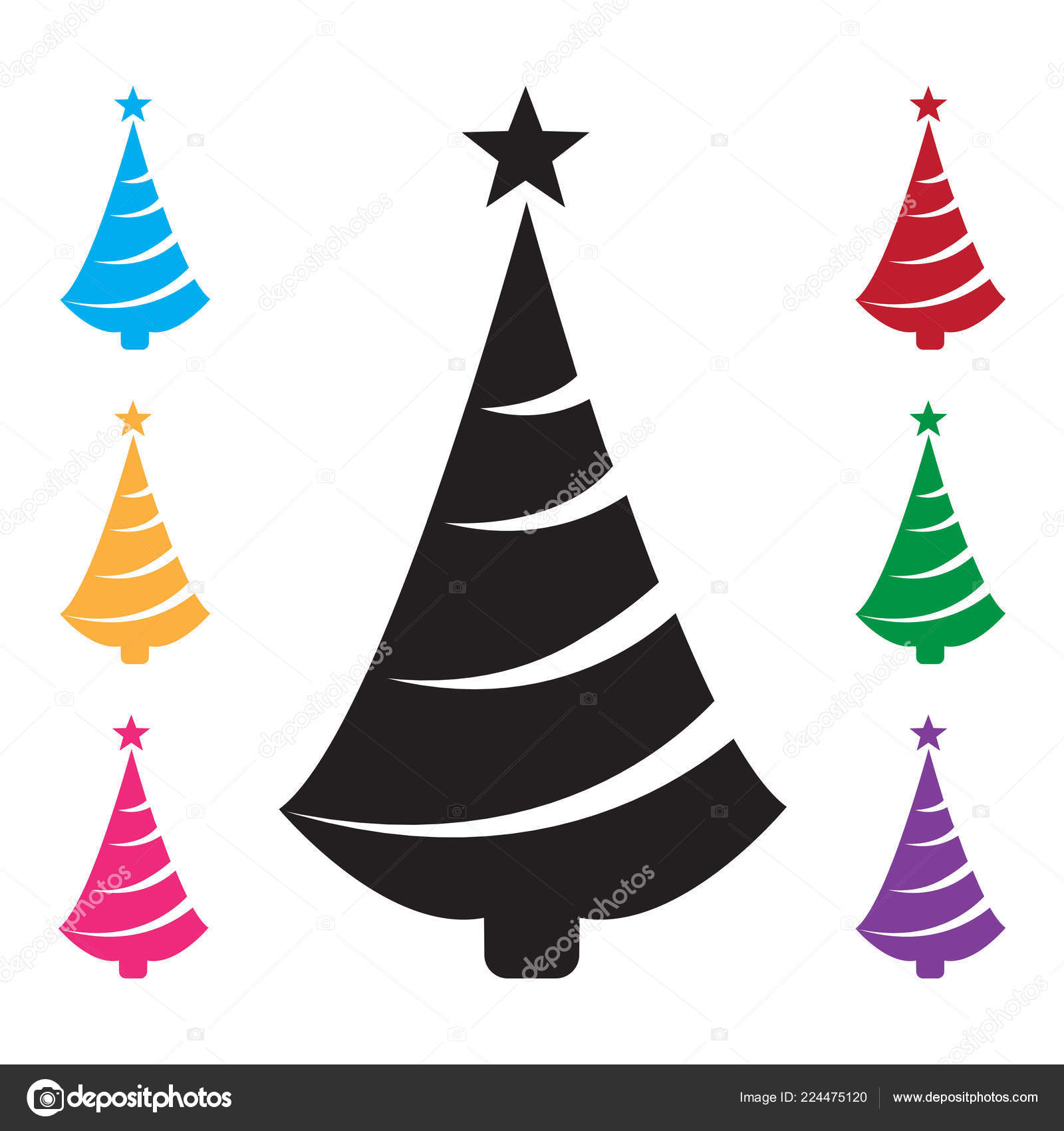 Black Christmas Tree Icon Star Colorful Set Additional Versions