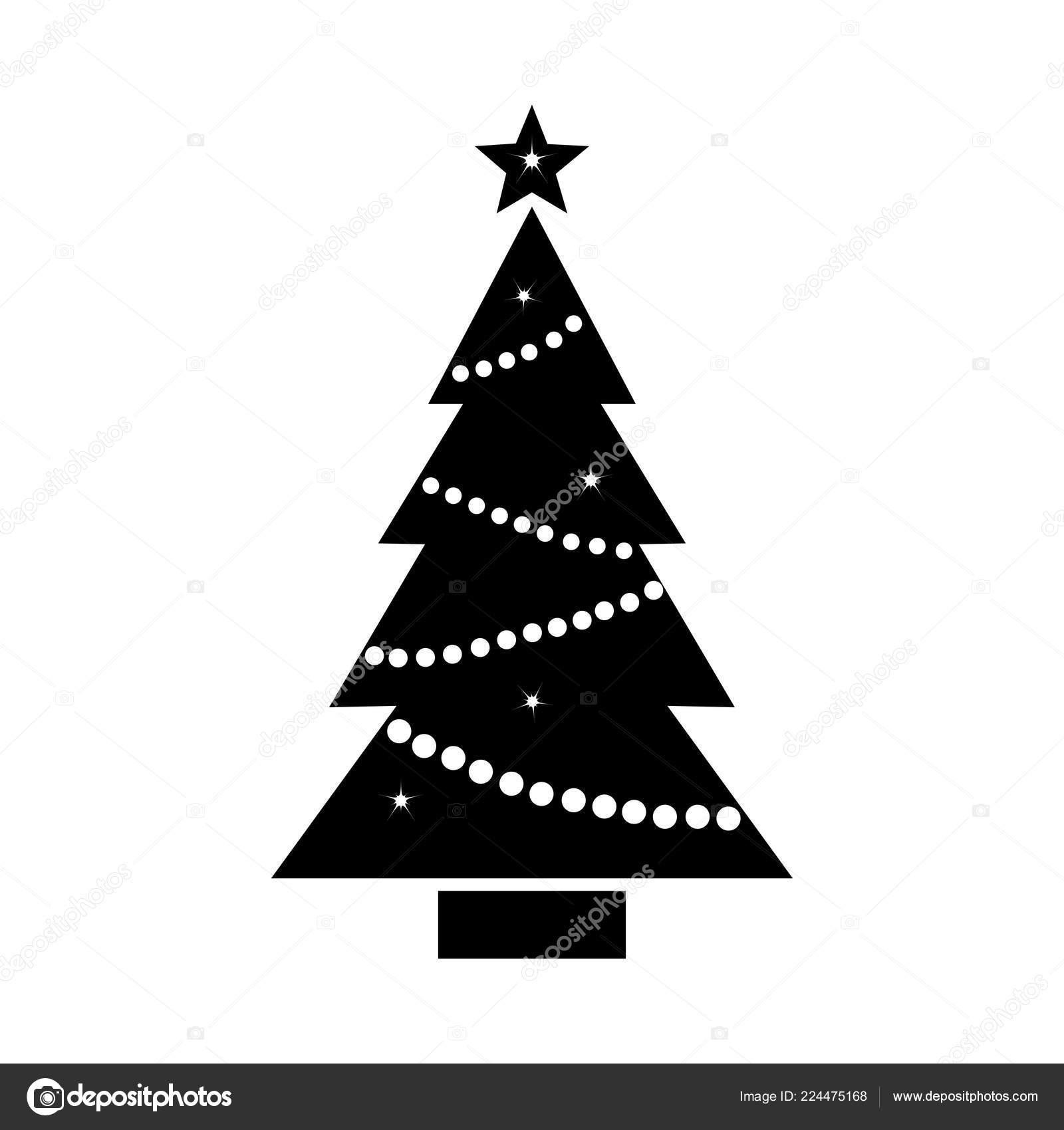 Stern Auf Weihnachtsbaum.Weihnachtsbaum Symbol Mit Stern Und Kranz Schwarz Weiß Silhouette