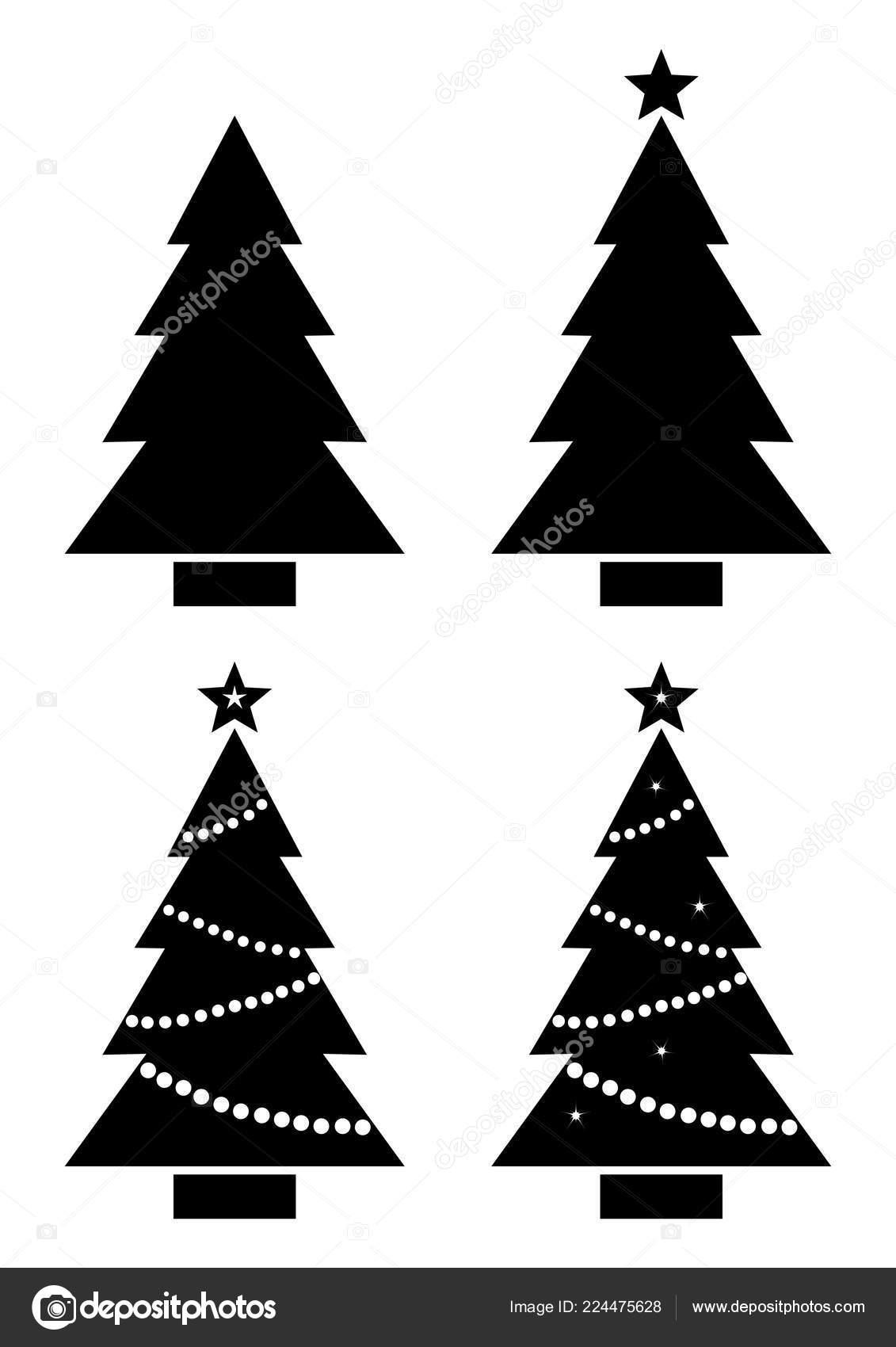 Sapin Noël Ensemble Silhouette Noir Blanc Illustration