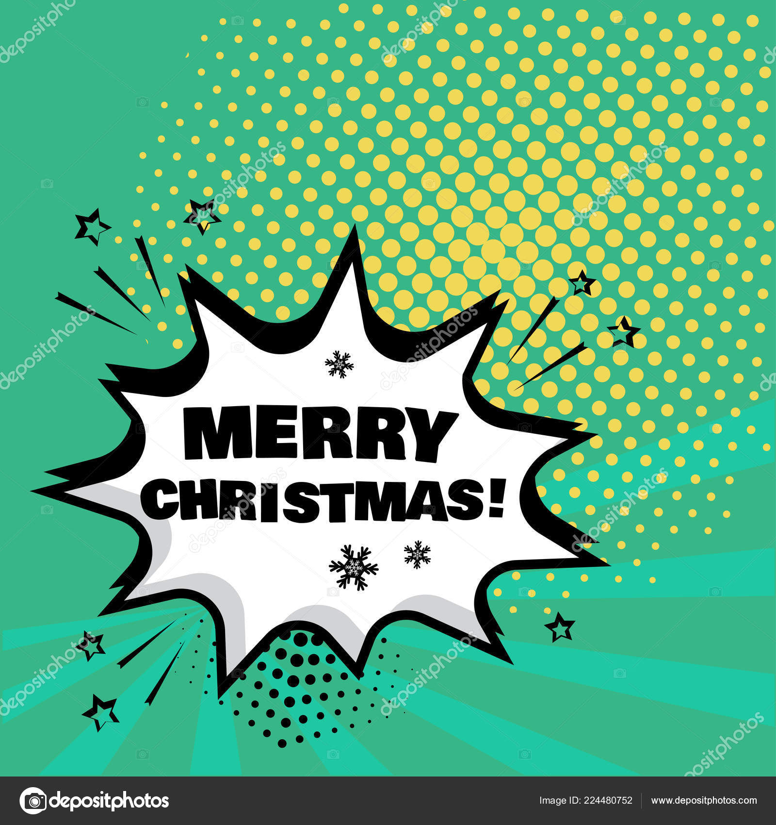 White Comic Bubble Merry Christmas Word Green Background