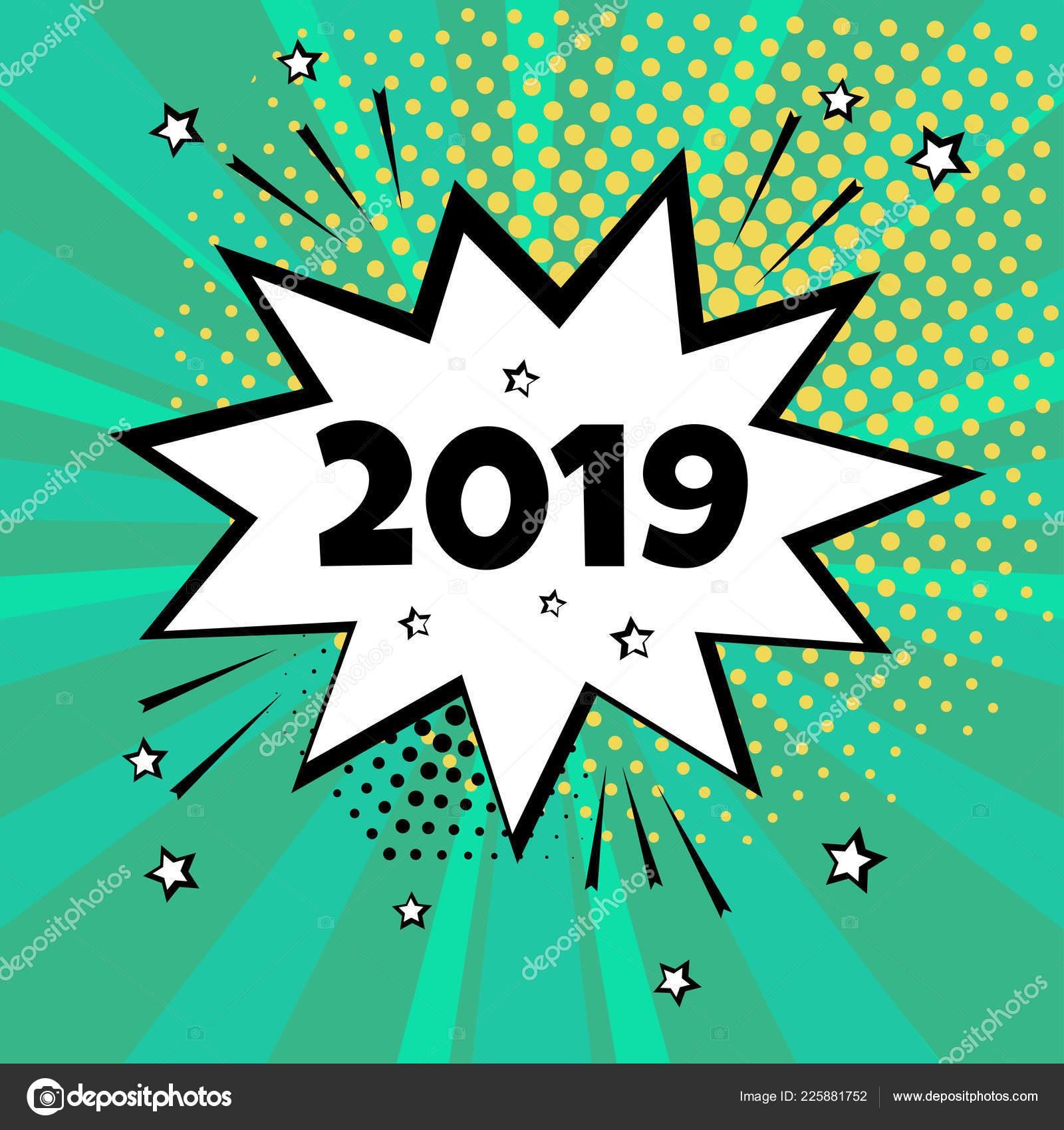 Weiße Comic-Blase mit 2019 Wort auf grünem Hintergrund. Comic-Sound ...