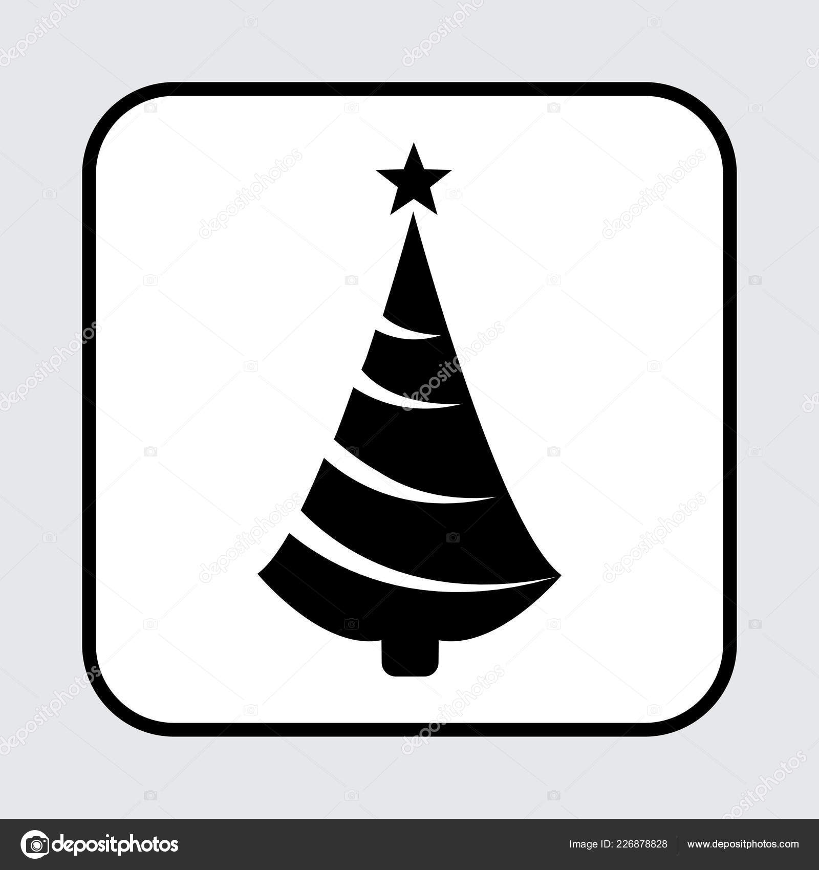 Black Christmas Tree Icon Vector Illustration Stock Vector