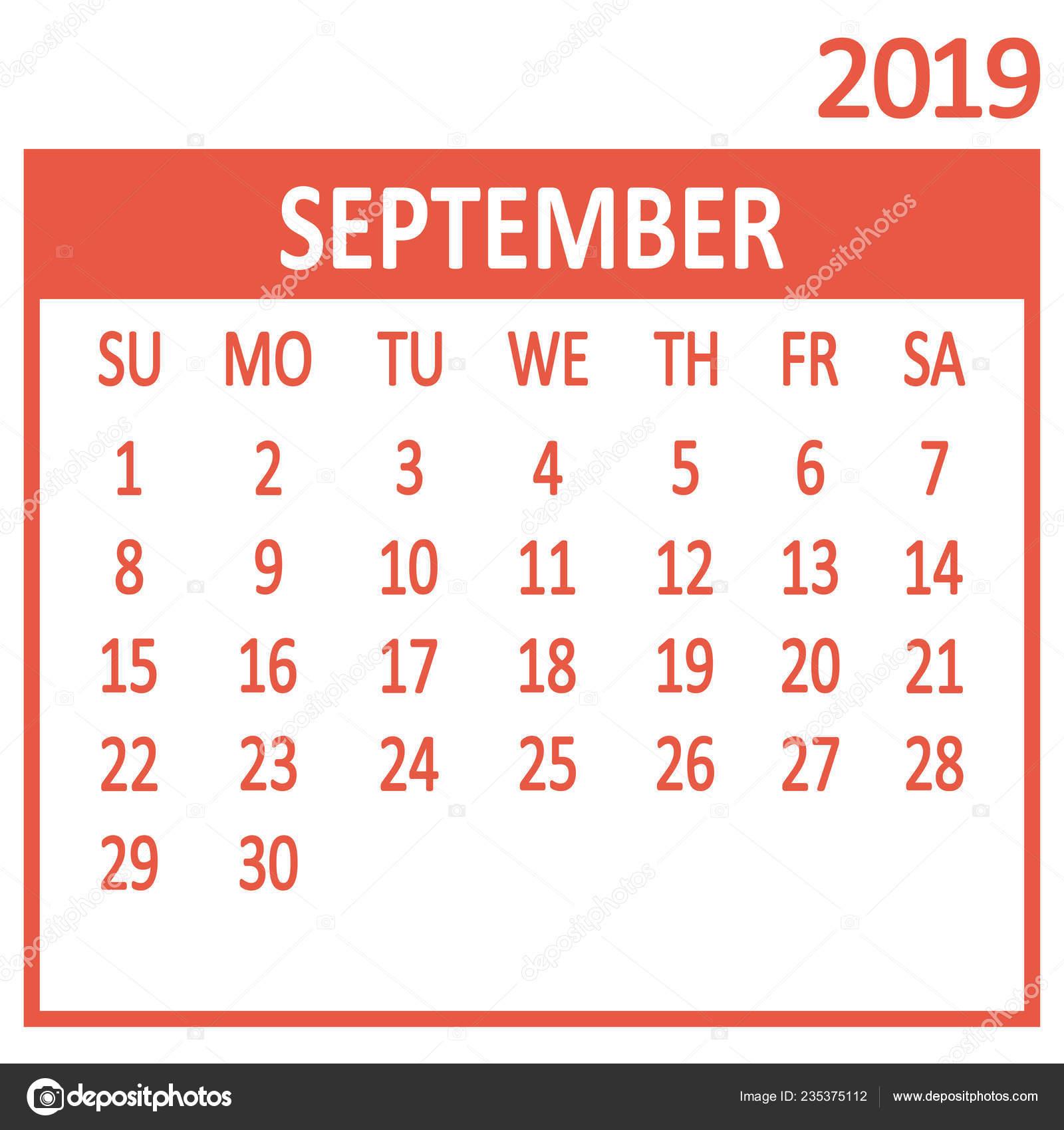 Pagina Di Calendario Settembre 2019.Settembre Nona Pagina Del Set Calendario 2019 Template