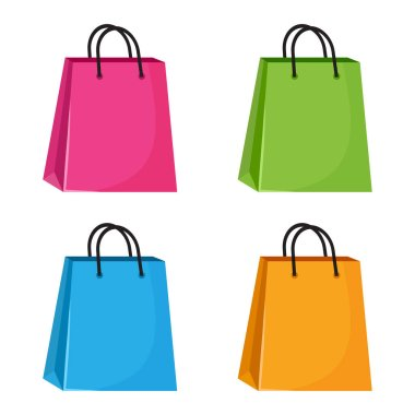 Set of colorful shopping paper bags. Vector illustration