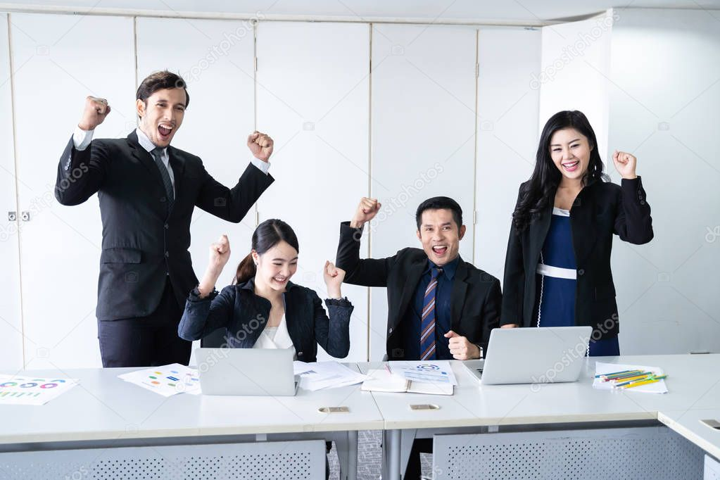 Business Team Success Achievement Arm Raised,  business team brainstorming researching and marketing in office, Brainstorm group working concept.