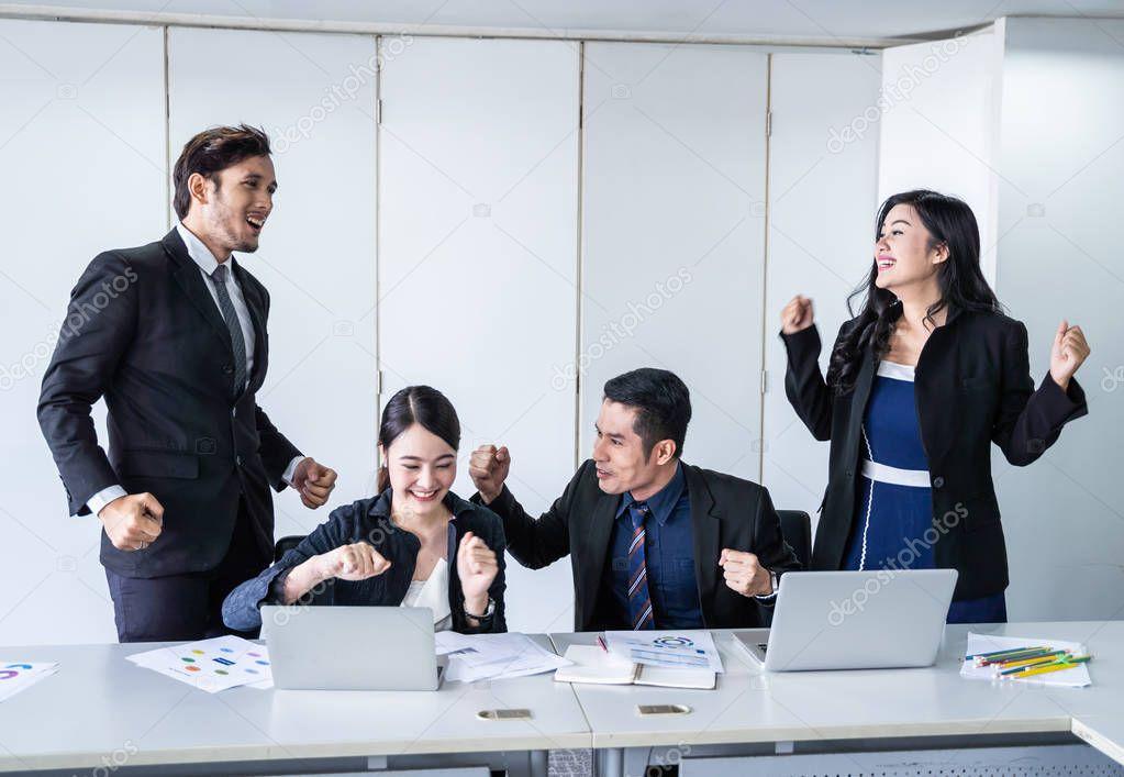 Business Team Success Achievement Arm Raised Concept