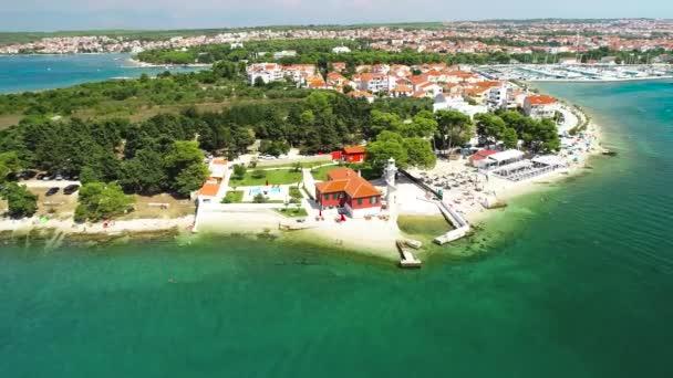 Město Zadar Puntamika majáku a pláže vzdušné letní pohled, Dalmácii region Chorvatska