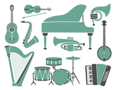 Set of Music Instruments, retro style.