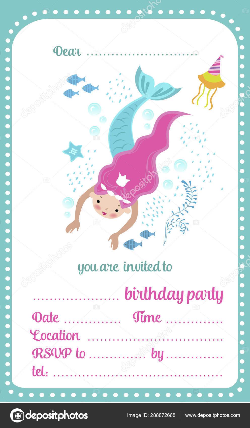 Niños Cumpleaños Fiesta Invitación Plantilla Tarjeta Con