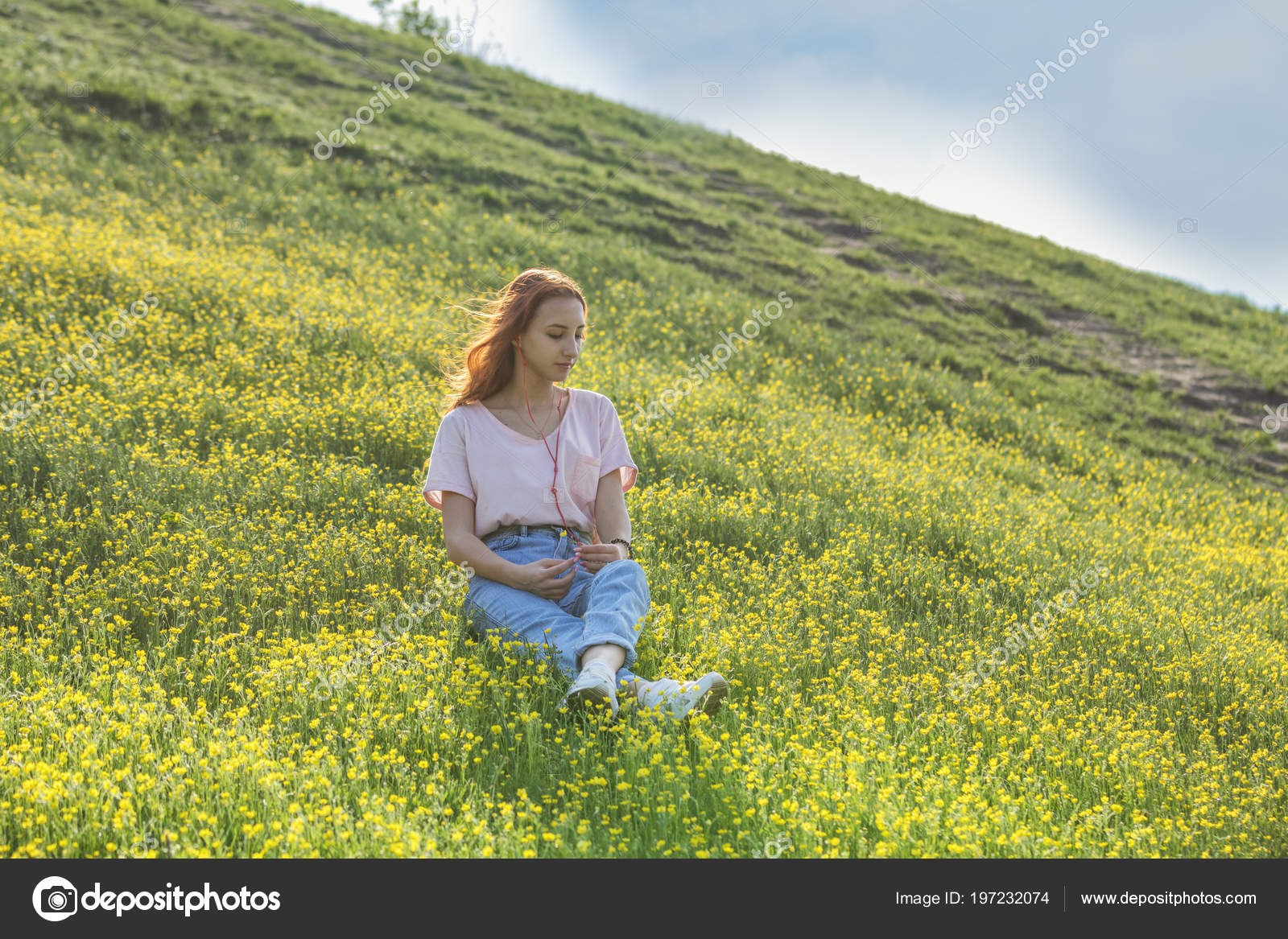 Young Girl Teenager Lawn Field Yellow Flowers Long Chestnut Hair