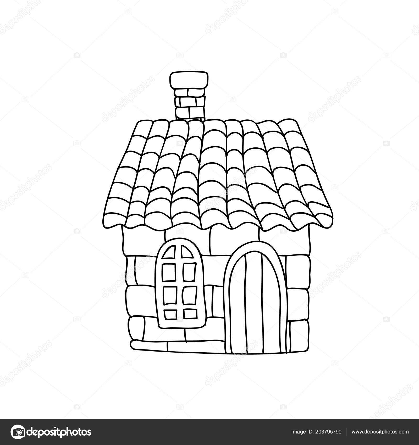 Komik Masal Evi çocuk üzerinde Beyaz Izole Sayfa Boyama Stok Foto