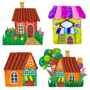 Colorful plasticine 3D houses game  icons set isolated on white background