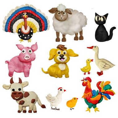 Colorful plasticine 3D farm animals pets   icons set isolated on white background