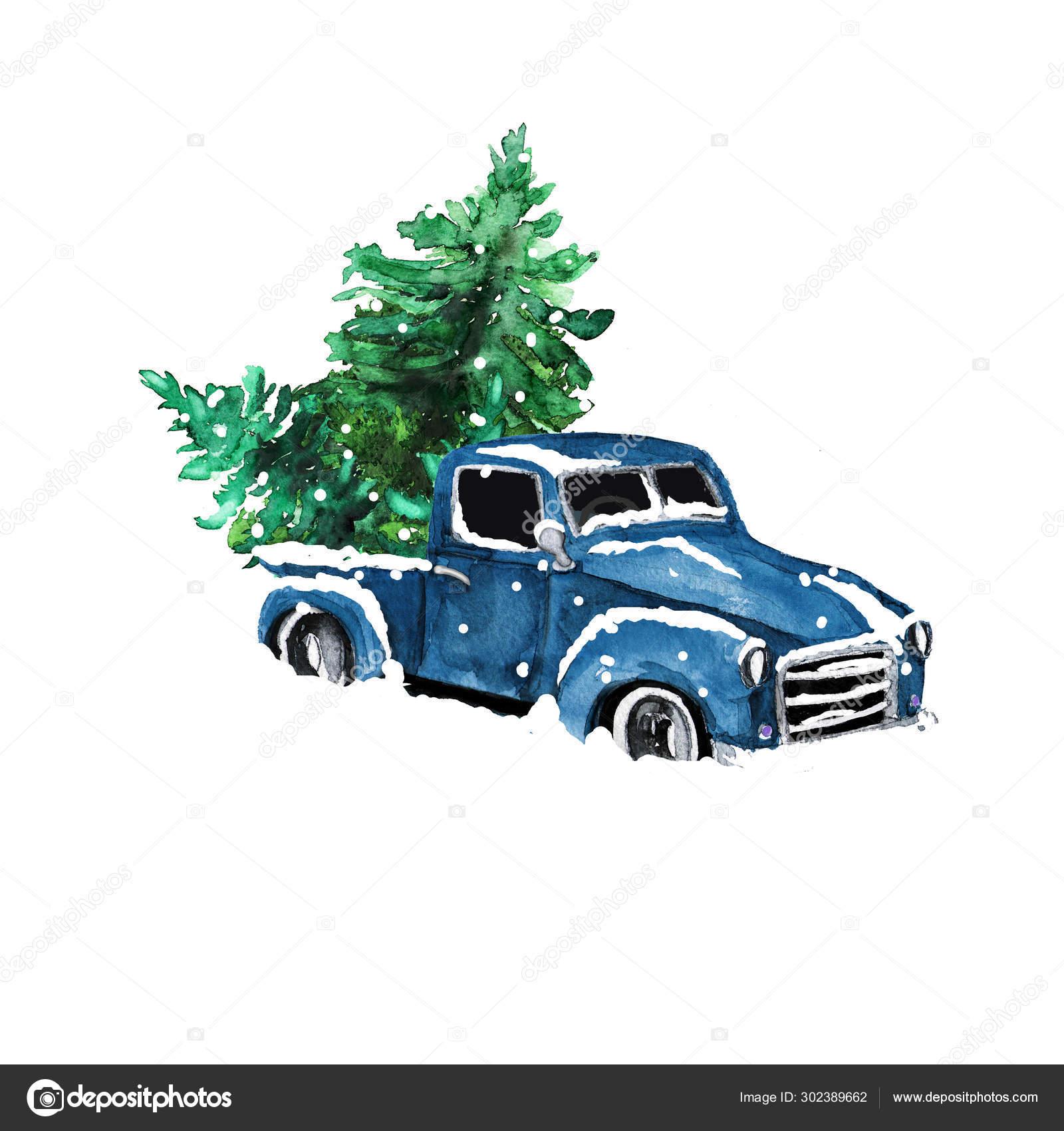 Watercolor Hand Drawn Artistic Colorful Retro Vintage Car Christmas Tree Stock Photo C Nuarevik 302389662