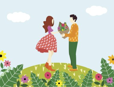 Cute man character confesses love to a woman and give her flowers against the background of beautiful summer nature and mountains - vector flat cartoon illustration clip art vector