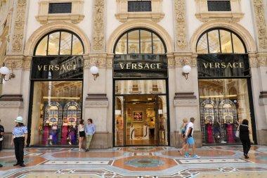 MILAN, ITALY - SEPTEMBER 10, 2018: Facade of Versace store inside Galleria Vittorio Emanuele II the world's oldest shopping mall, Milan, Italy