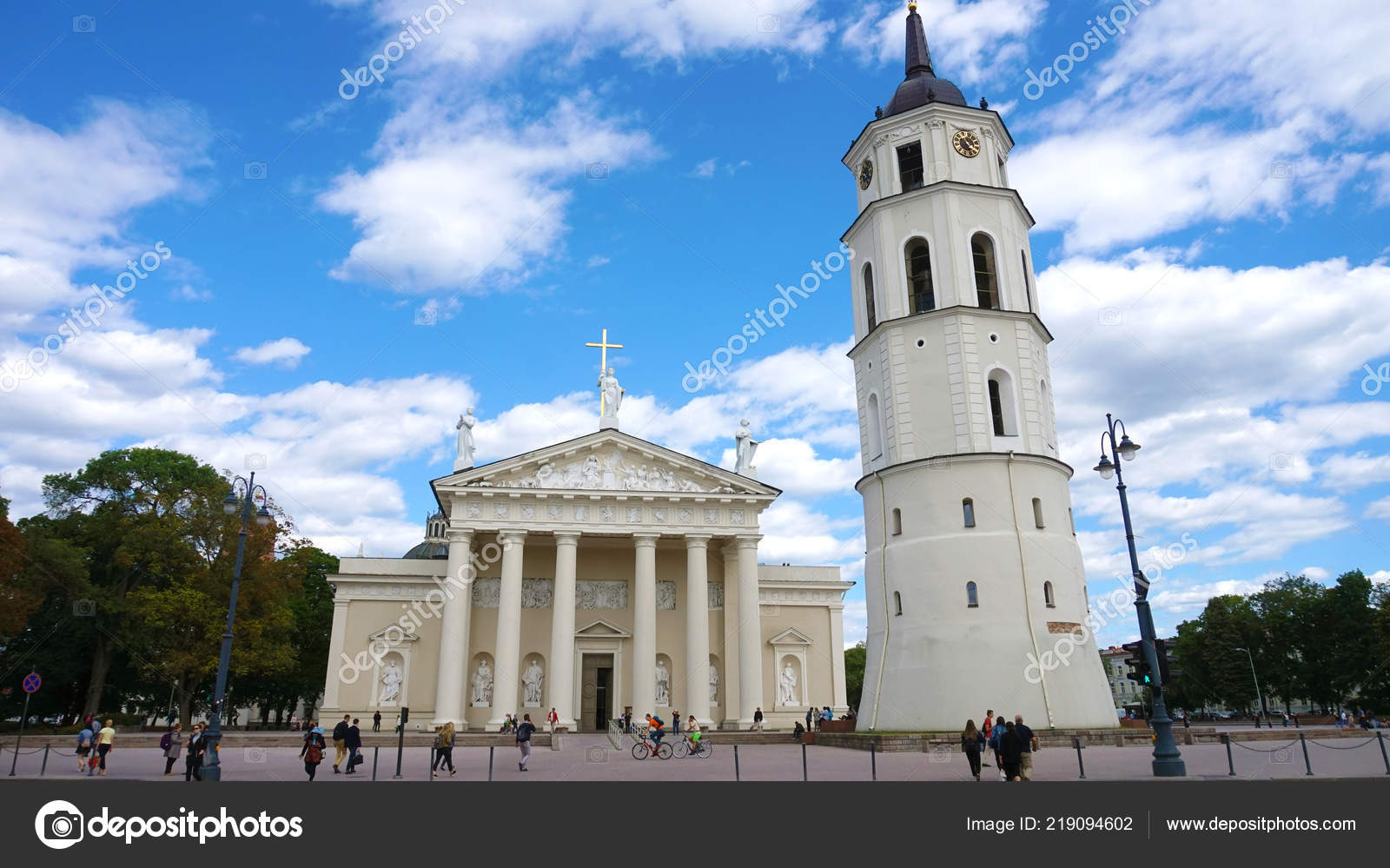 0969f2ec60 Vilnius Lithuania June 2018 Vilnius Cathedral White Clouds Blue Sky — Stock  Photo