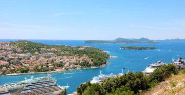 Dalmatian coastline panoramic view from Dubrovnik, Croatia, Europe