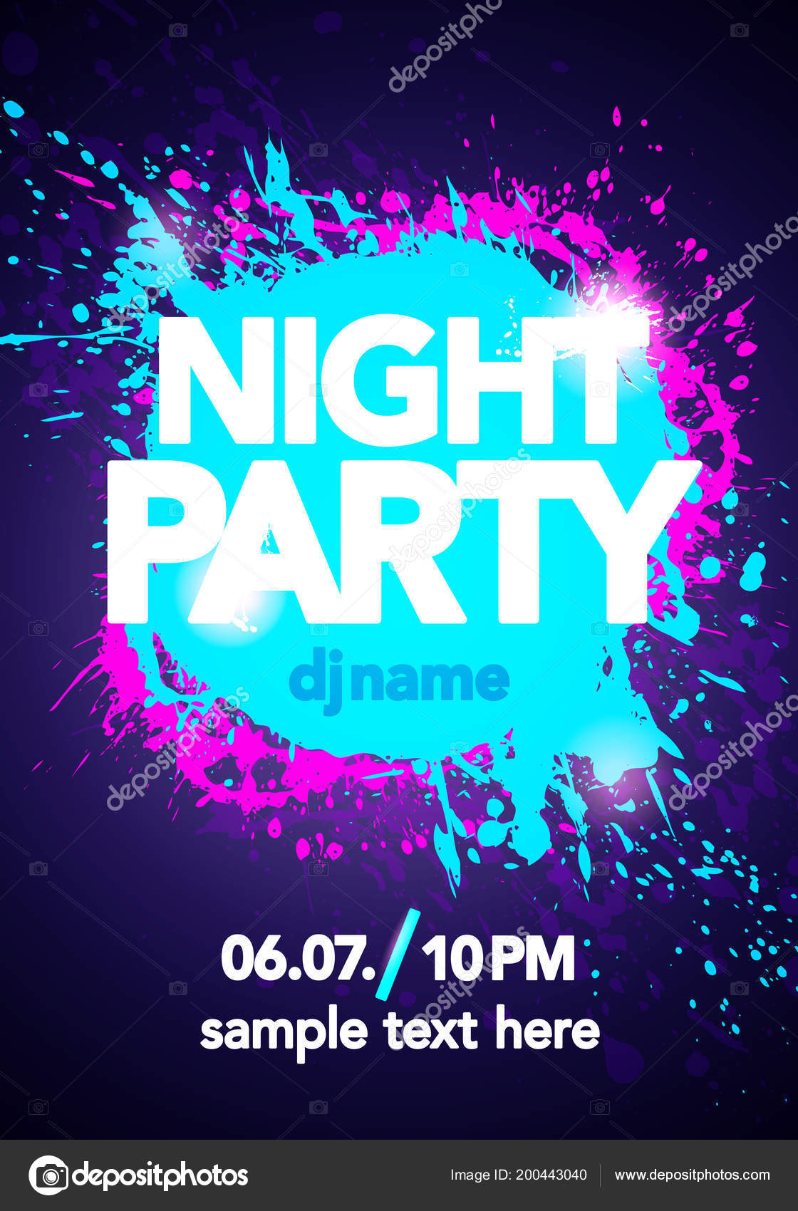 Vector Illustration Dance Party Poster Background Template