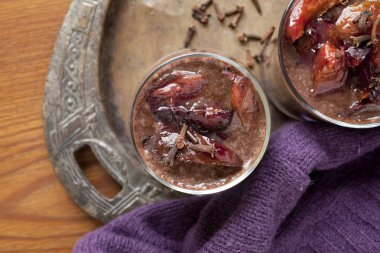 Chocolate smoothie -milkshake with plums and cloves