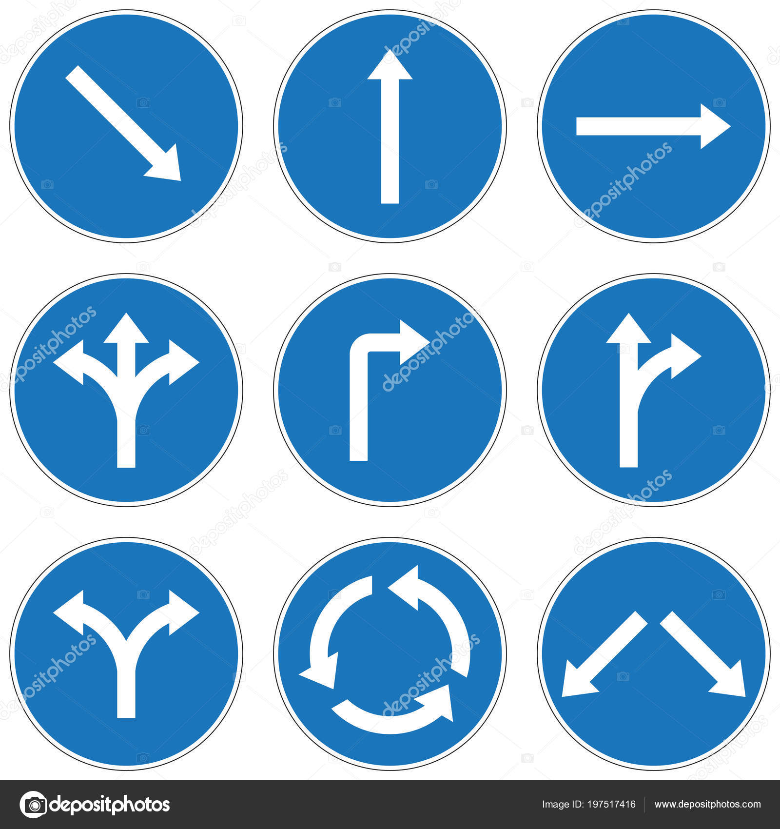 image different road signs arrows isolated white background stock