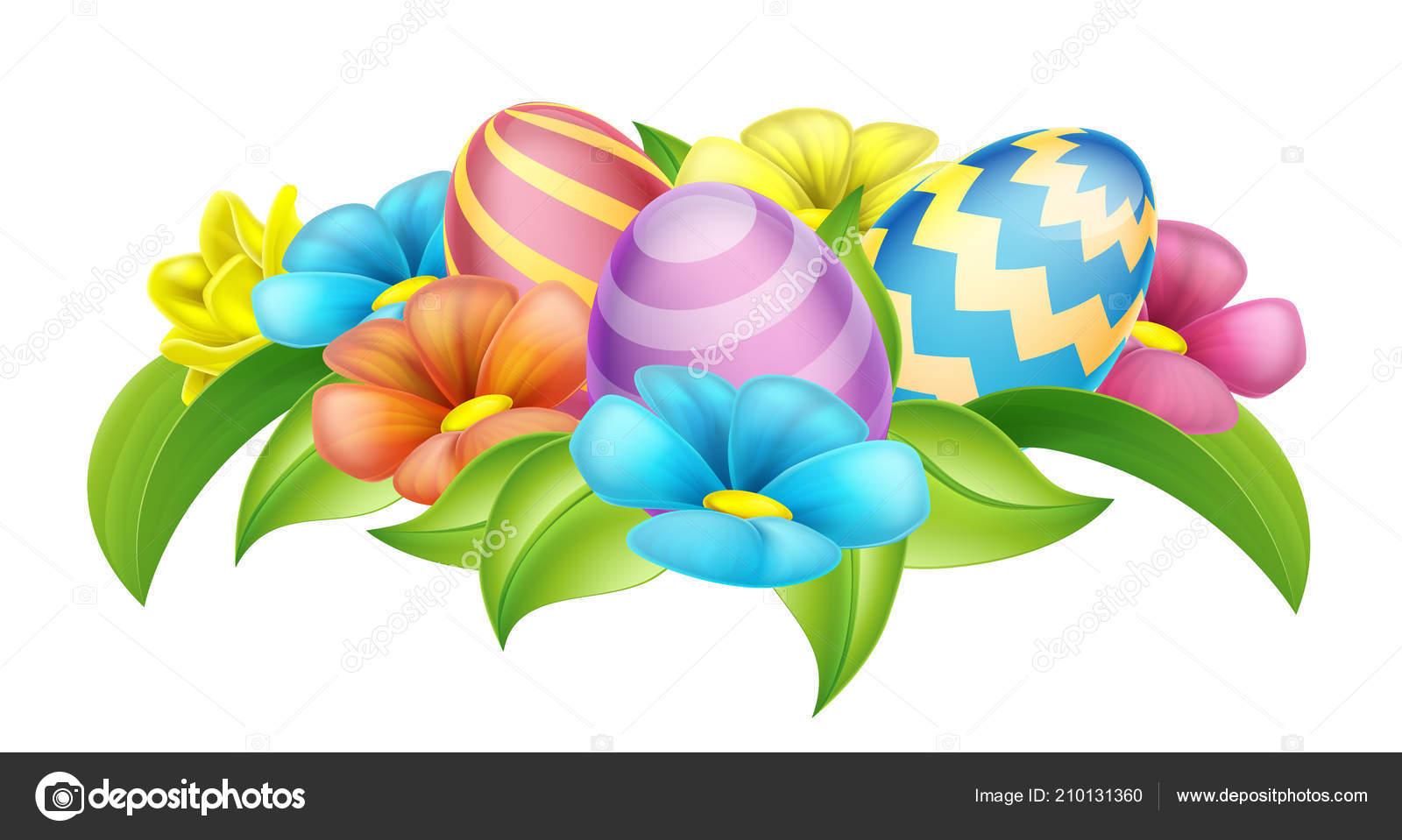 Easter eggs spring flowers cartoon design element stock vector easter eggs spring flowers cartoon design element stock vector mightylinksfo