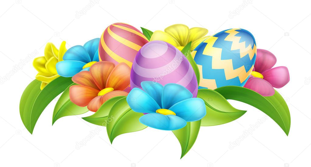 Easter eggs and spring flowers cartoon design element