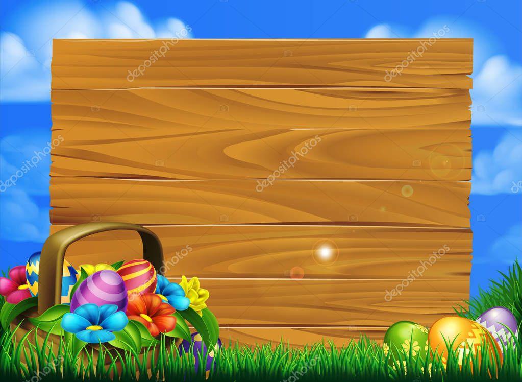 Easter Eggs Basket Sign