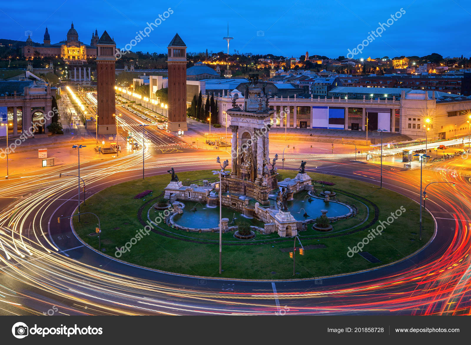 Spanish Square Aerial View Barcelona Spain Night Famous Place