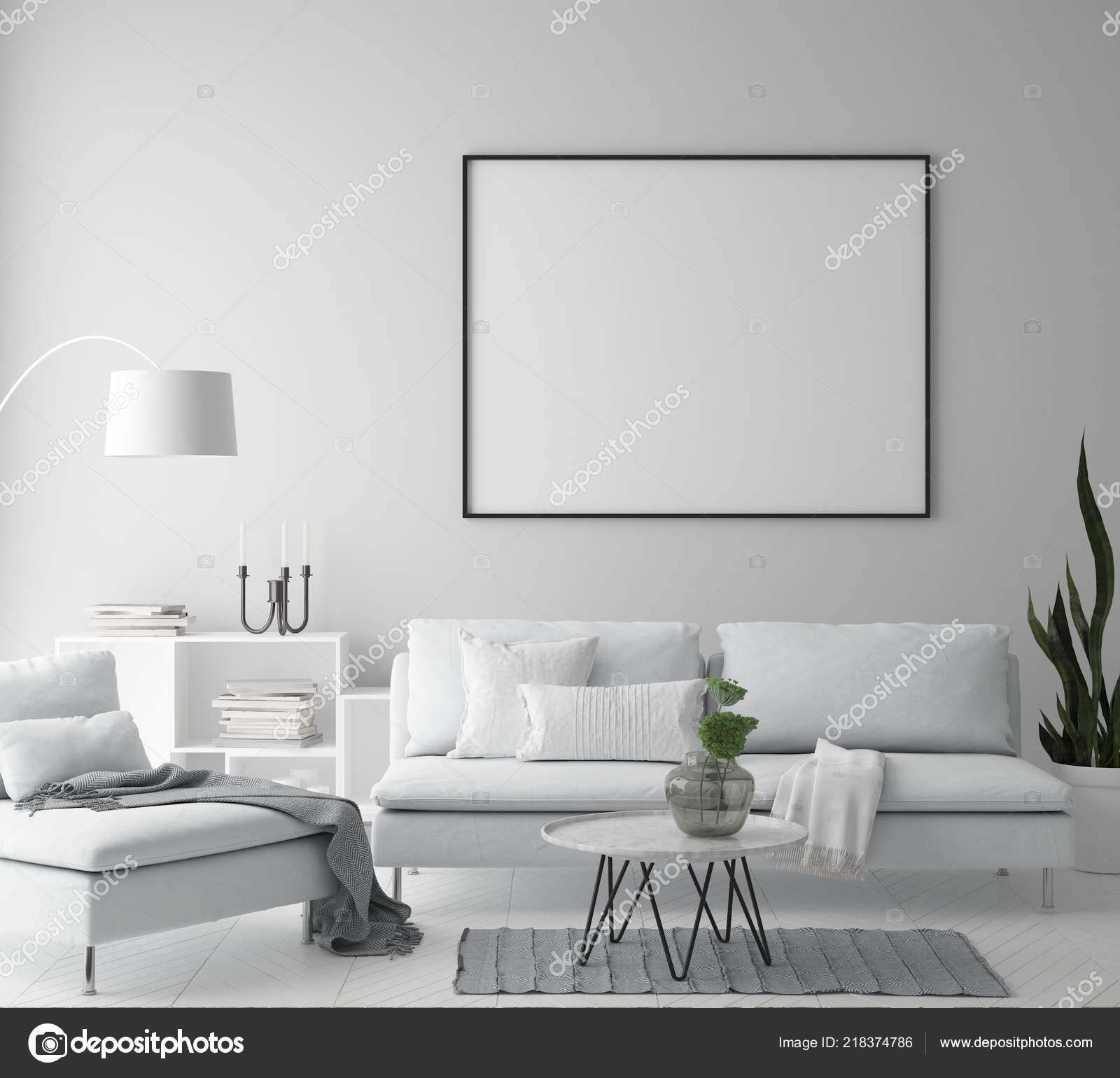 Mock Poster Frame Hipster Interior Background Living