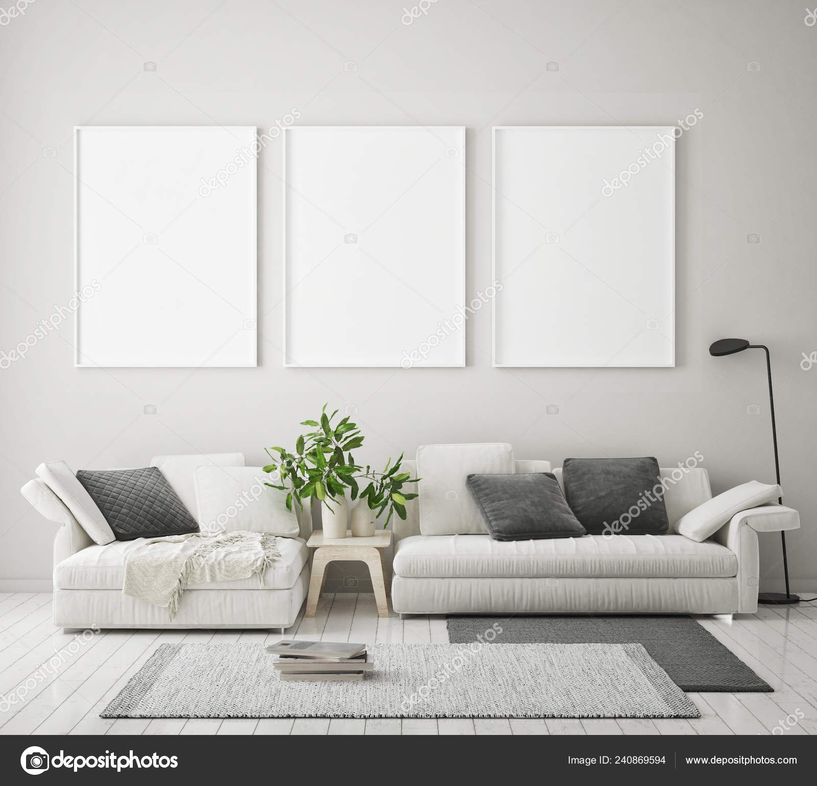 Background Living Room Mock Poster Frame Modern Interior Background Living Room Scandinavian Style Stock Photo C Mockupdesign 240869594