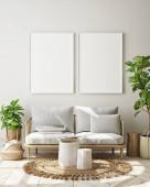vysmívat se rámeček a v zázemí a interiéru, obývacího pokoje, skandinávský styl, 3d vykreslení, 3d ilustrace
