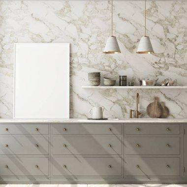 mock up poster frame in modern kitchen interior background, living room, Scandinavian style, 3D render, 3D illustration