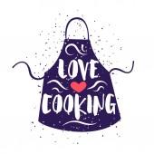 Fényképek Aranyos címke kötény és a szerelem főzés szöveg, fehér háttér a felirat. Vektoros illusztráció, üdvözlőlapok, dekoráció, nyomatok és plakátok