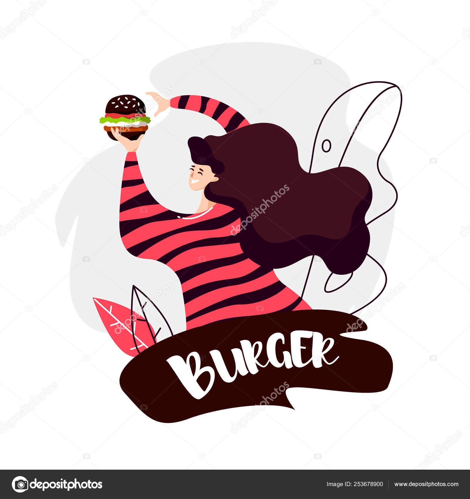 Fille Dessin Animé Avec Burger Noir Contours Feuilles Sur