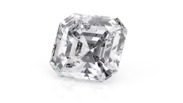 Bílý diamantový polštář na bílém pozadí. Bezproblémová 360 smyčková animace. 3D vykreslování
