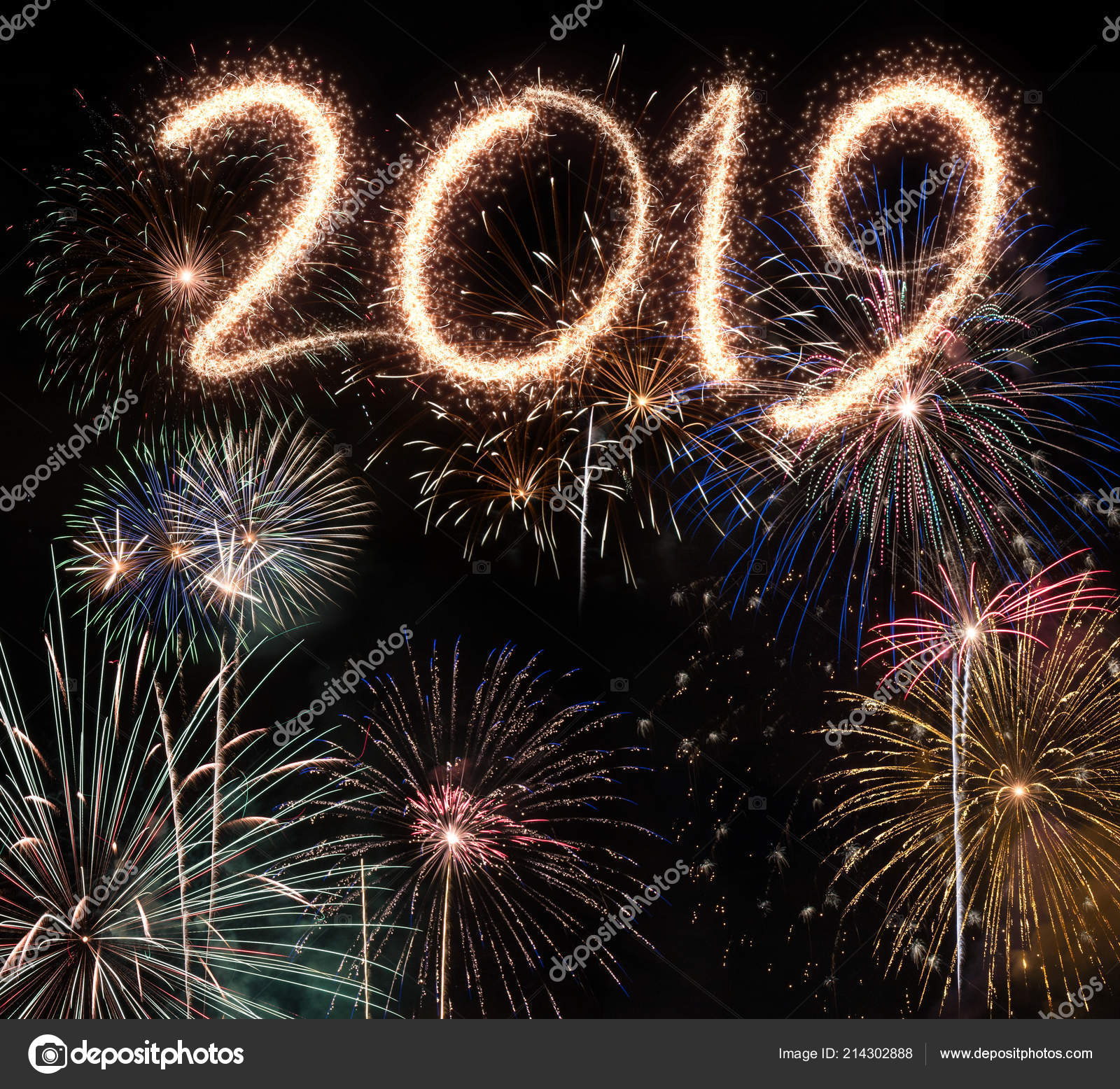 new year eve 2019 fireworks black background stock photo