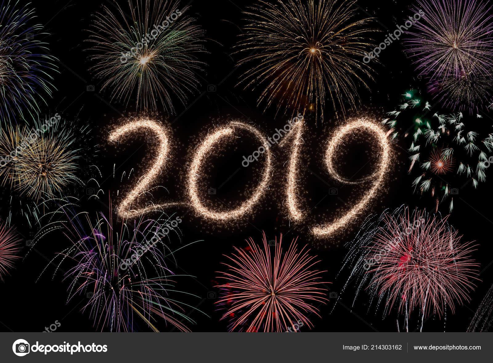 new year eve 2019 fireworks black background stock photo