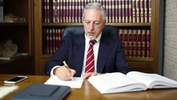 Businessman writing on a document in his office