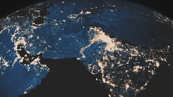 Gyönyörű reális kilátás a bolygó Föld az űrből. Forgatás a Earth.Night csillogó városok