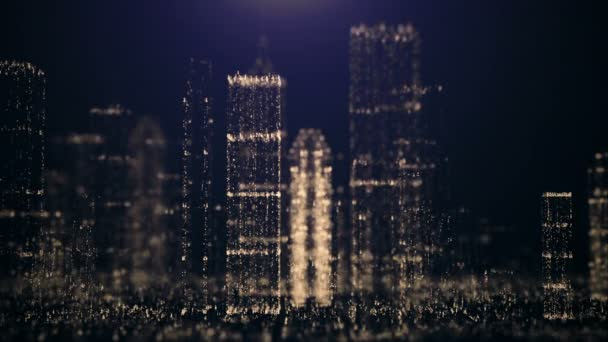 Abstract background of the big city of glittering particles.