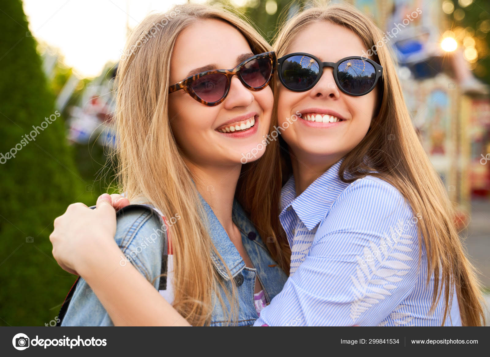 Two Girls Best Friends Happily Hug Each Other Stock Photo C Sky Dog 299841534