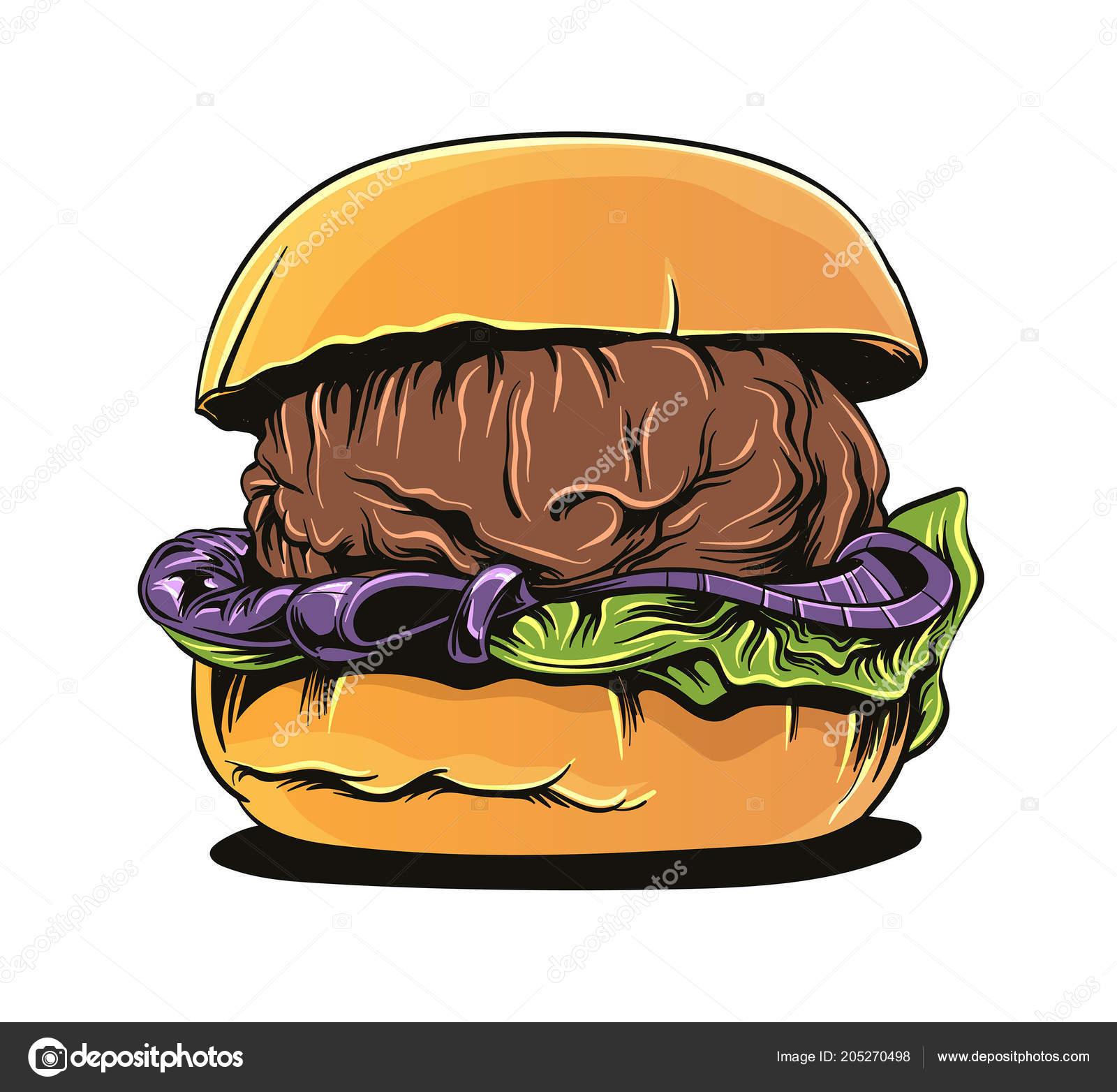 Hamburger Cartoon Stylu Vektorove Umeni Kresleni Aplikaci