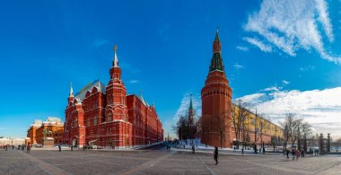 A panorama of Moscow focused on the Kremlin and the State Historical Museum.