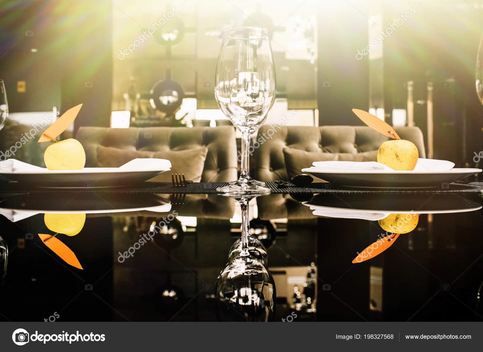 Fancy Table Setting Wine Glasses Elegant Restaurant Stock Photo C Vaksmanv101 198327568