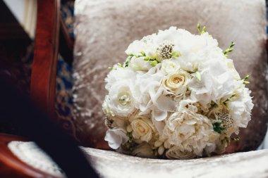 Beautiful wedding bouquet on background