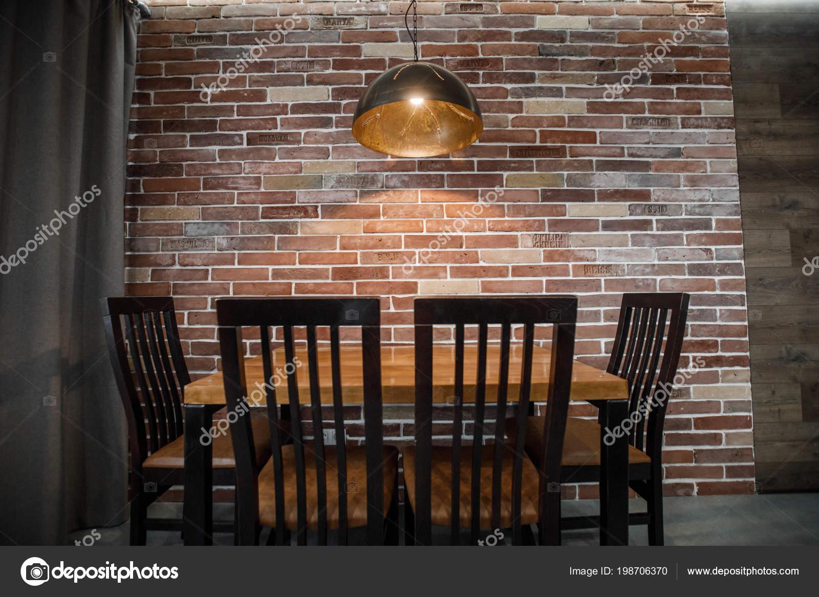 Modern Restaurant Interior Brick Wall Stock Photo C Vaksmanv101 198706370