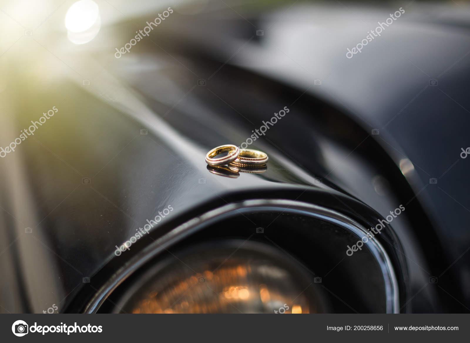 Wedding Rings Car Wedding Rings Retro Black Car Stock Photo