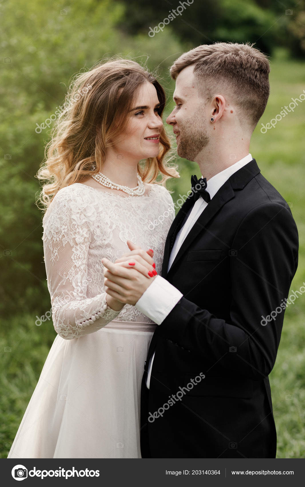 Happy Wedding Couple Stylish Bride Bearded Groom Posing Wedding Day